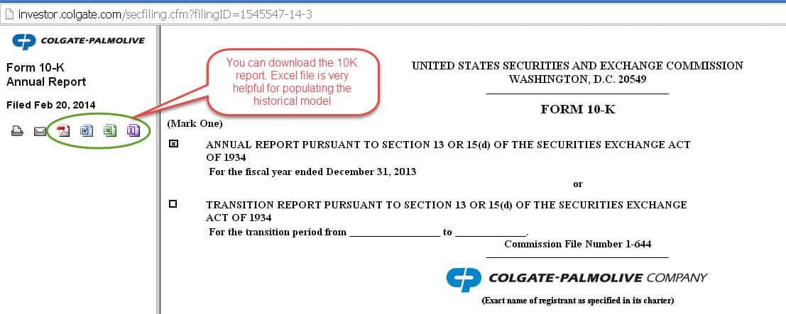 Colgate 10K - Download the excel