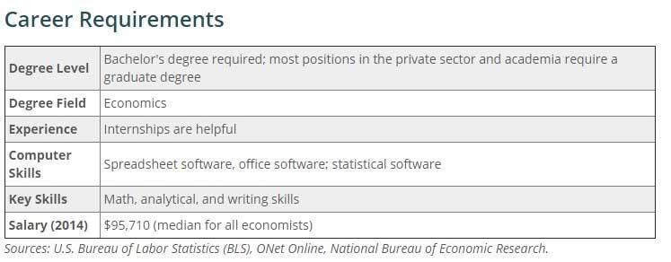 Career requirements economist