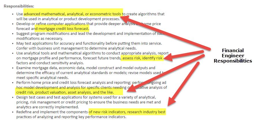 Financial engineering responsiblities