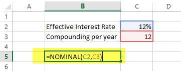Nominal - Financial Functions in Excel Example
