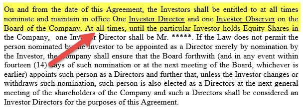 Term Sheet - Board of Directors