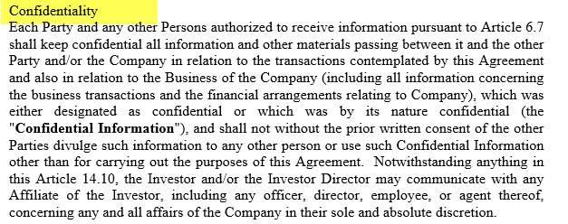 Term Sheet - Confidentiality