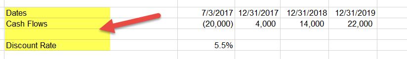 XNPV Example 1a