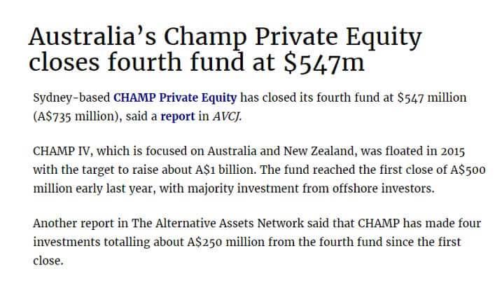 Private Equity in Australia - Champ