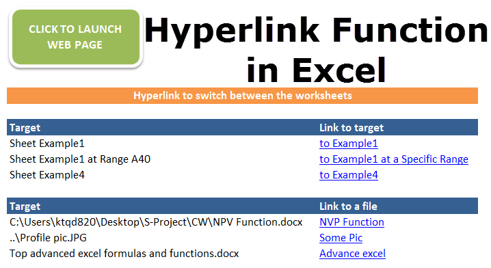 Hyperlink Function in Excel.