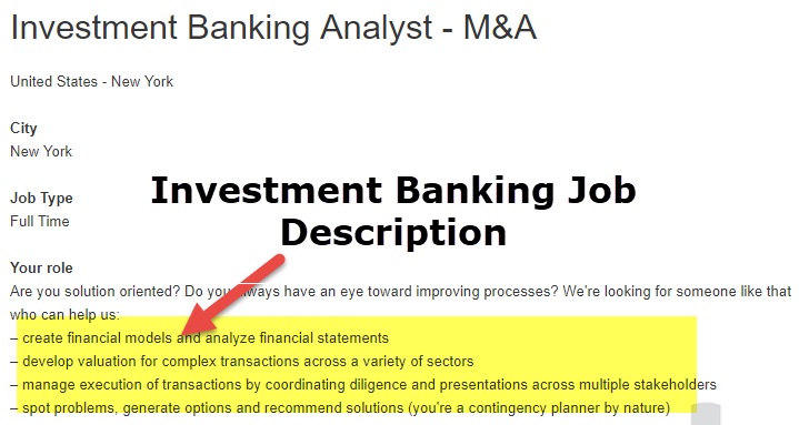 Investment banking m&a analyst job description weissenburger investments clive ia movie