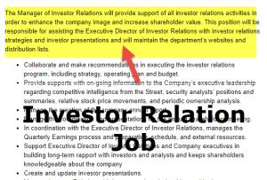 Investor Relation Job Description