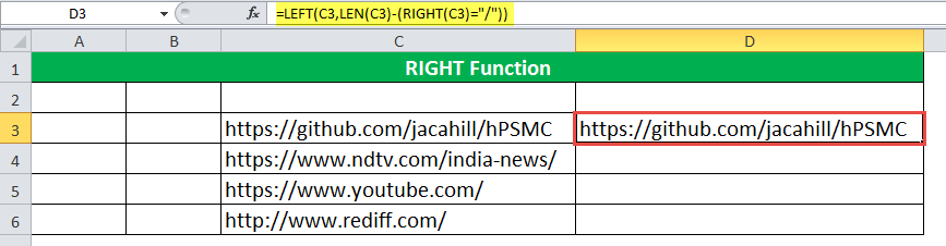 RIGHT Function Example 7-2