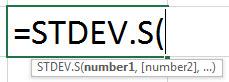Standard Deviation - STDEV.s Formula