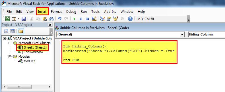 Unhide Column step 4