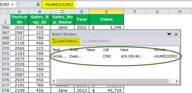 Watch Window in Excel Example 1-4