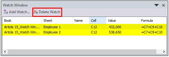 Watch Window in Excel Example 3