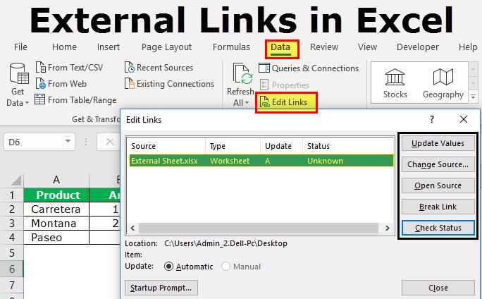 external links in excel