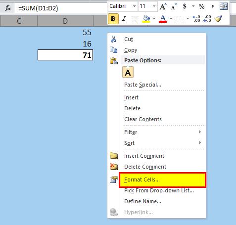 Hide Formulas in Excel Step 2