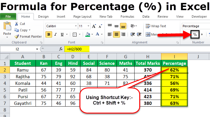 How to Calculate Percentage in Excel using Excel Formula?