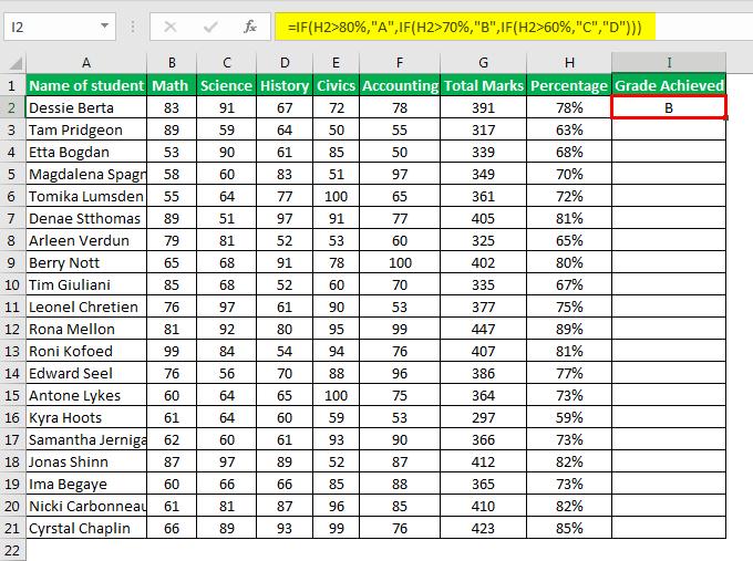 Excel Formula for Grade example 1.3