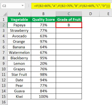 Excel Formula for Grade example 2.1