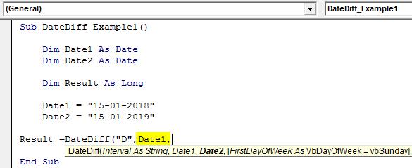 VBA DateDiff Example 1-6