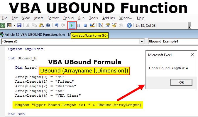 VBA UBOUND Function