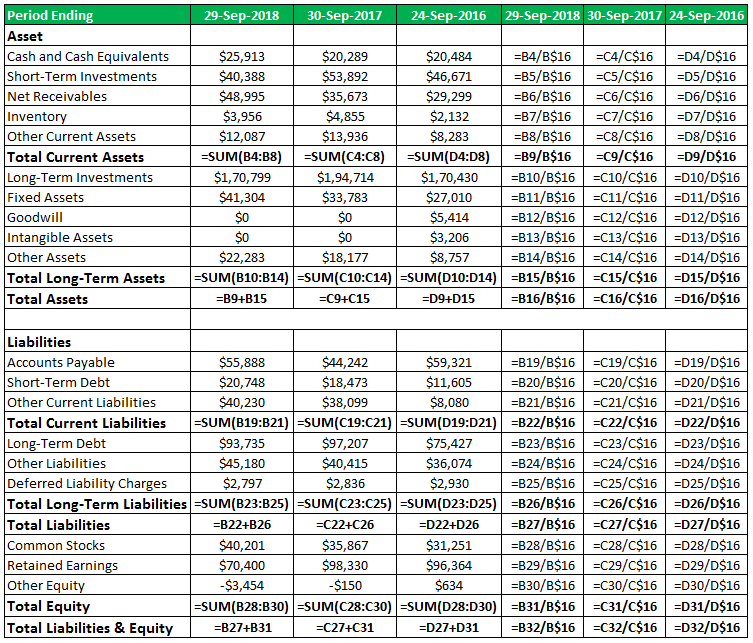 Common Size Balance Sheet Analysis Format Examples