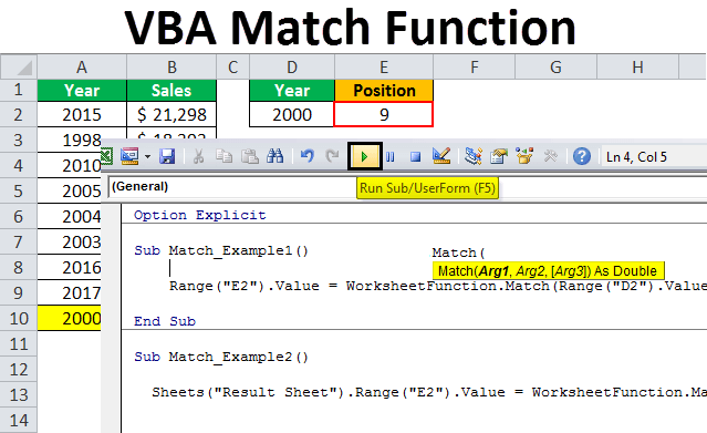 VBA Match   How to Use Match Function in VBA Excel Examples