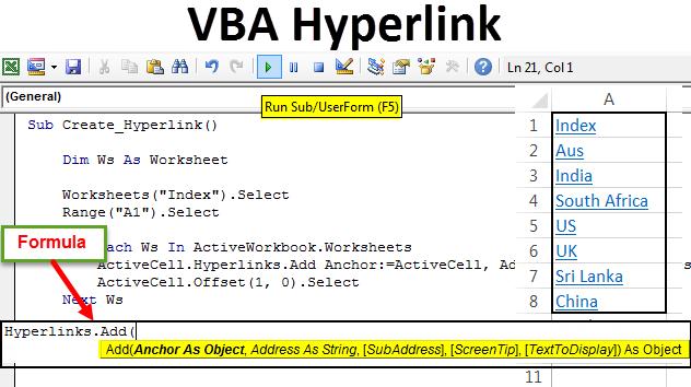 VBA Hyperlinks   How to Create Hyperlink in Excel using VBA Code?