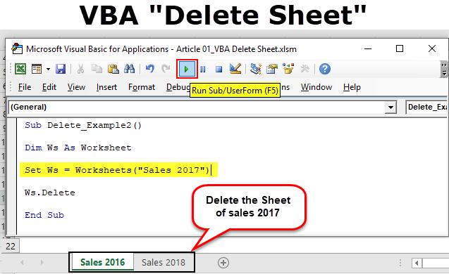 VBA Delete Sheet