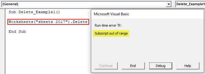 VBA Delete Worksheet Example 1
