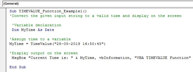 VBA TimeValue Example 1