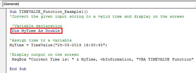 VBA TimeValue Example 2-1