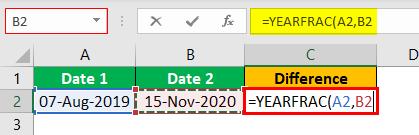 Excel YEARFRAC Example 1.5