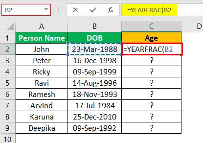 Excel YEARFRAC Example 2.2