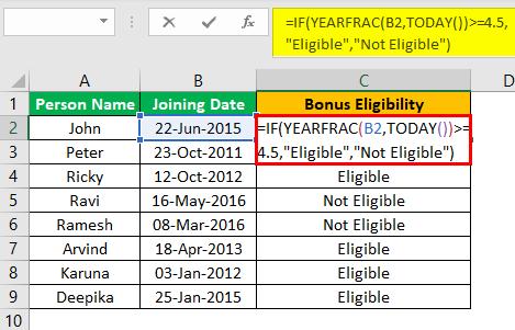 Excel YEARFRAC Example 3.1.0