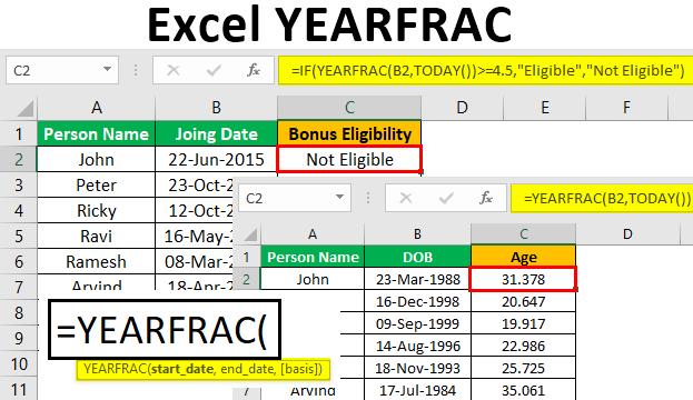 Excel YEARFRAC