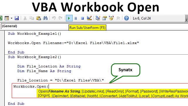 Vba Workbook Open Open Excel Using Workbooks Open Method