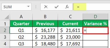 percentage change formula example 1-1