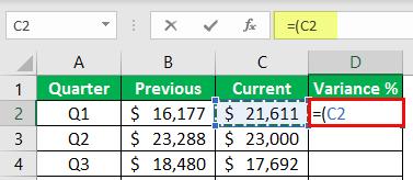 percentage change formula example 1-2