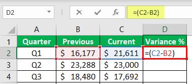 percentage change formula example 1-3