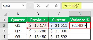 percentage change formula example 1-4