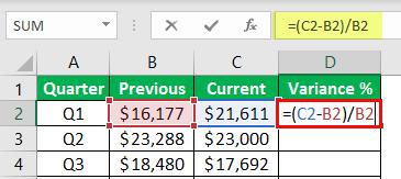 percentage change formula example 1-5