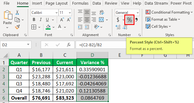 percentage change formula example 1-7