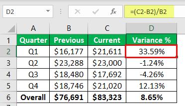 percentage change formula example 1-8
