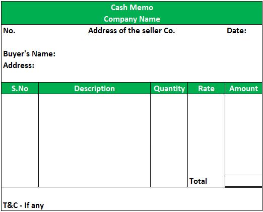 Cash Memo Format