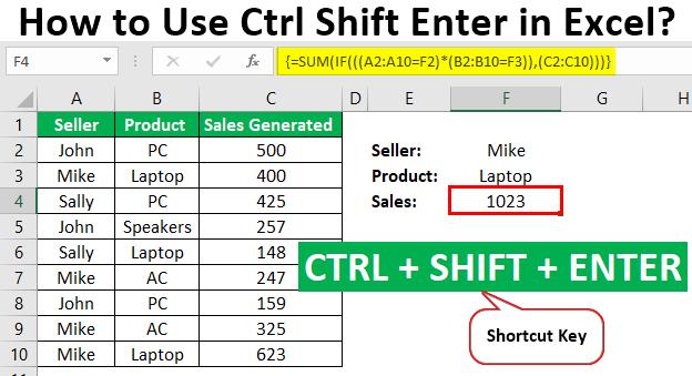 Ctrl Shift Enter in Excel