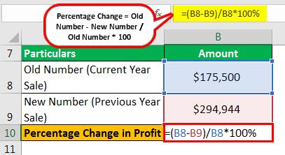 Percentage Change Formula Example 2.4