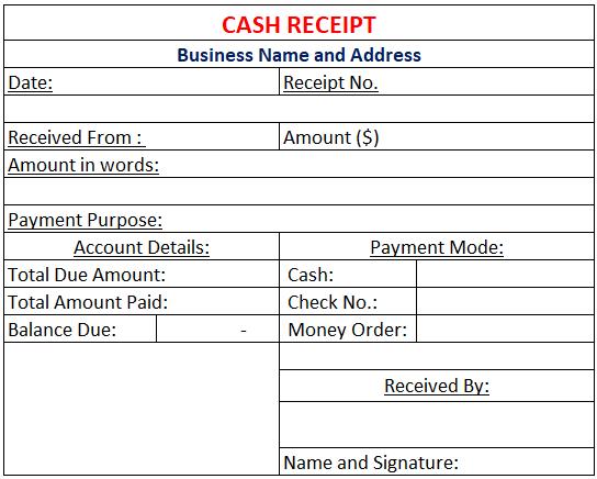 Cash Receipt Template Free Download Excel Ods Google Sheets