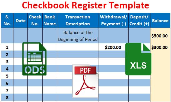 Checkbook Register Template Free Download Excel Pdf Csv Ods
