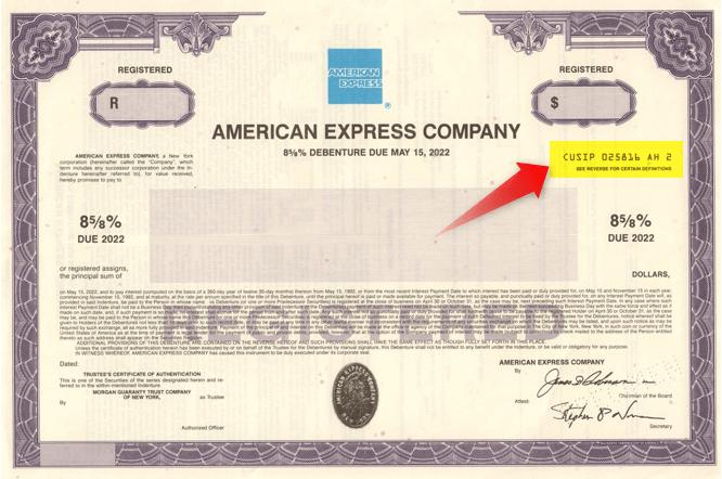 Specimen bond certificate