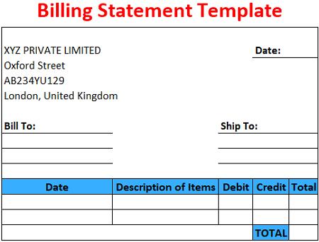 Billing Statement Template Free Download Ods Excel Pdf Csv