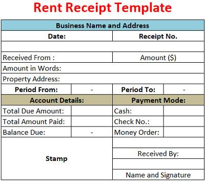 Rent Receipt Template Free Download Ods Excel Pdf Csv
